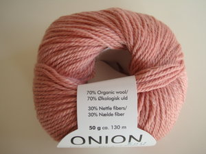 Onion no 4 FINO Organic Wool + Nettles 70% ekologisk ull & 30% nässlor rosa nr 804