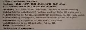 mönster Onion FINO ekologisk ull + nässlor mönsterstickade sockor nr 1398