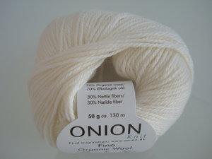 Onion no 4 FINO Organic Wool + Nettles 70% ekologisk ull & 30% nässlor vit nr 801