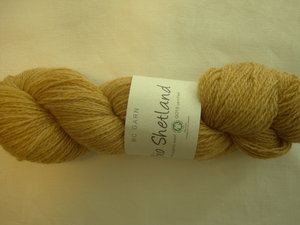 B C Garn Bio Shetland nr 38 100% ekologisk ull senap