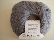 Onion no 4 FINO Organic Wool + Nettles 70% ekologisk ull & 30% nässlor grå nr 805