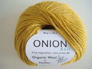 Onion Organic Wool + Nettles 70% ekologisk ull & 30% nässlor senapsgul nr 628