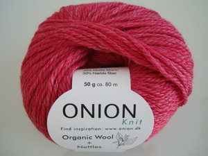 Onion Organic Wool + Nettles 70% ekologisk ull & 30% nässlor cerise nr 623
