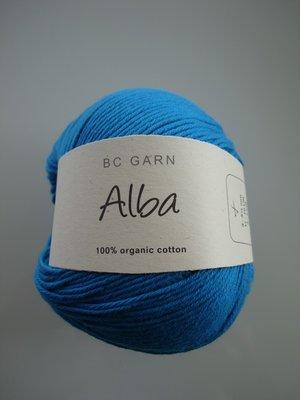 B C Garn Alba 100% ekologisk bomull mörk turkos nr 13