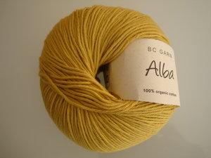 B C Garn Alba 100% ekologisk bomull senapsgul nr 28