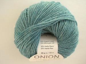 Onion no 4 FINO Organic Wool + Nettles 70% ekologisk ull & 30% nässlor petrol nr 814